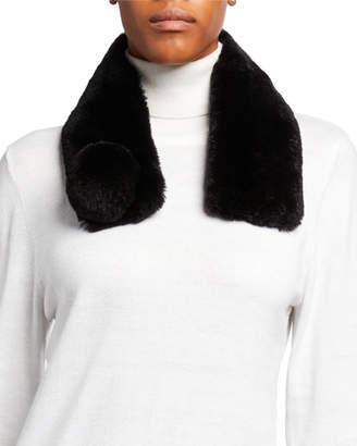 Adrienne Landau Rabbit Fur Scarf w/ Pompom