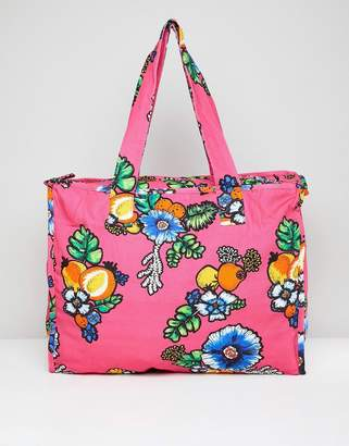 Asos MADE IN Made In Kenya Oversized Shopper In Tropical Print Floral