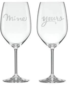 Kate Spade Set of Two Two Of A Kind Yours & Mine Crystal Wine Glass Set