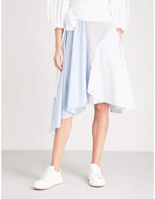 Mo&Co. Striped cotton-poplin skirt