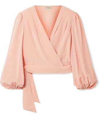 Temperley London Eden Silk Crepe De Chine Wrap Top - Blush