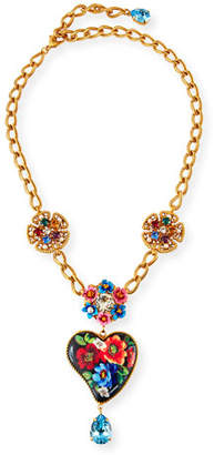 Dolce & Gabbana Flower & Heart-Pendant Necklace