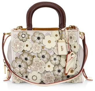 Coach Rose Applique Pebble Leather Shoulder Bag