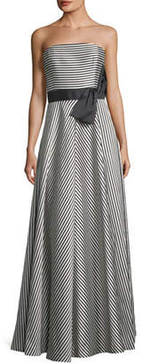 Halston Strapless Striped A-Line Gown