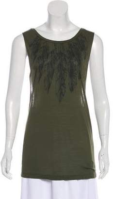 Haute Hippie Sleeveless Feather Print Top