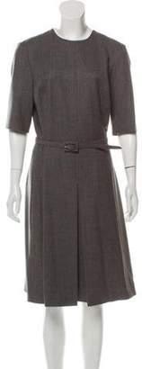 Ralph Lauren Belted Wool Dress Grey Belted Wool Dress