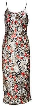 Ganni Women's Cameron Floral Slim Satin Midi Slip Dress