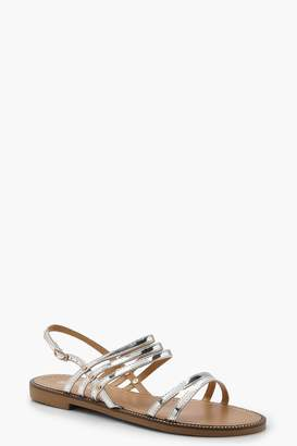 boohoo Metallic Strappy Sandals