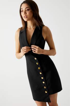 Next Womens Missguided Asymmetric Button Detail Sleeveless Blazer Dress