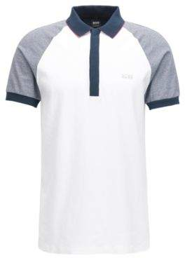 BOSS Hugo Colorblocked Cotton Polo Shirt, Regular Fit Pless L White