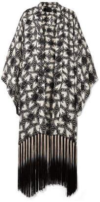 Anna Sui - Chasing Hearts Fringed Metallic Fil Coupé Silk-blend Chiffon Kimono - Black