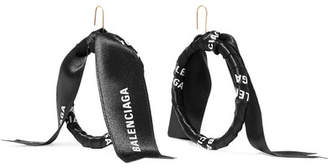 Balenciaga Gold-tone Printed Ribbon Earrings - Black