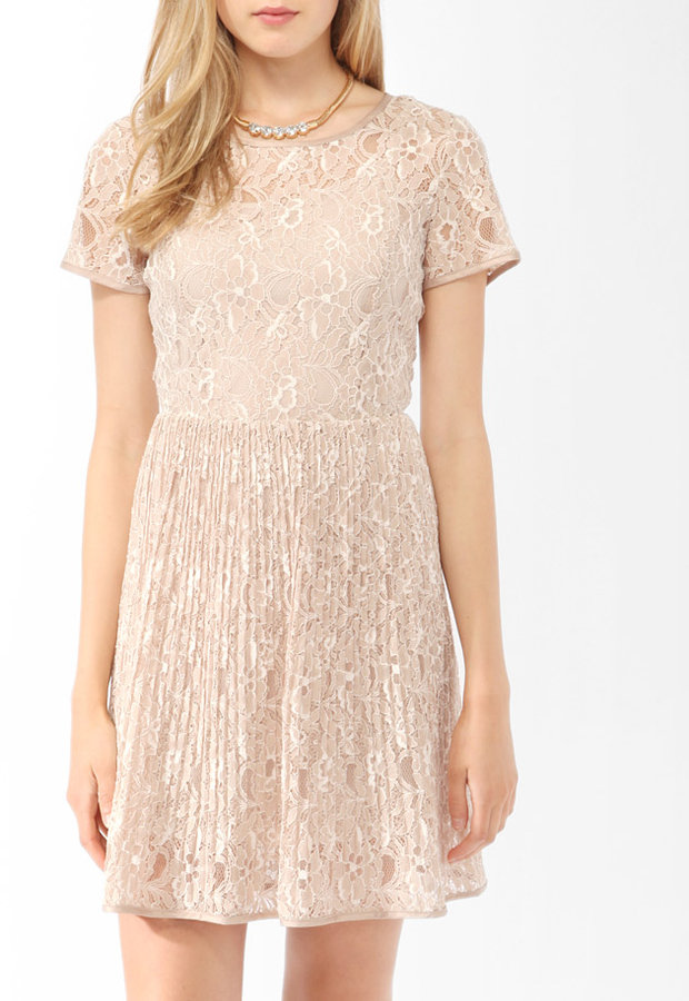 FOREVER 21 Pleated Textured Lace Dress