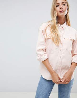 Asos DESIGN cord shirt in pale pink