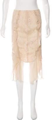 Ungaro Lace-Accented Midi Skirt