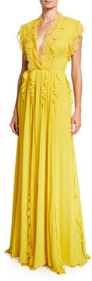 Giambattista Valli Ruffle-Trimmed Silk Cap-Sleeve Gown