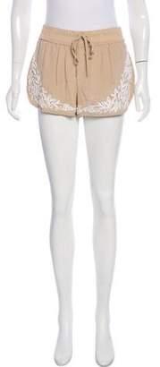 Haute Hippie Embroidered Silk Shorts