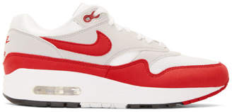 Nike Red and White Air Max 1 Anniversary Sneakers