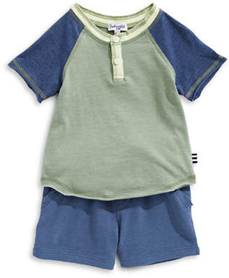 Splendid Raglan-Sleeve Henley and Shorts Set