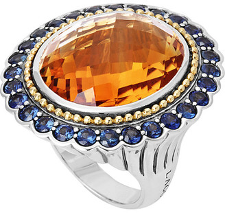 Lagos Statement Rings 18K & Silver 3.29 Ct. Tw. Citrine & Sapphire Ring