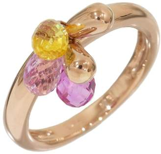 Star Jewelry 18K Rose Gold with Multi Color Gemstones Ring Size 3.5
