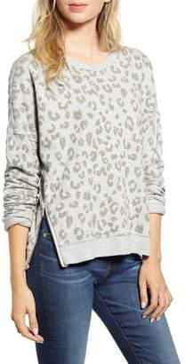 Rails Marlo Leopard Print Side Zip Sweatshirt