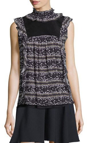 See By ChloeSee by Chloe Sleeveless Floral Ruffle-Trim Top, Black