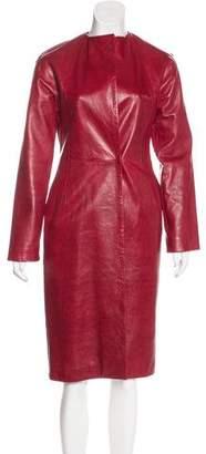 Donna Karan Long Leather Coat