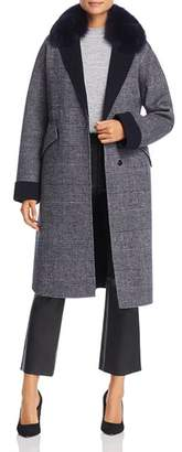Maximilian Furs Fox Fur-Collar Plaid Wool Coat - 100% Exclusive