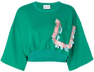 Au Jour Le Jour cropped embroidered pocket sweatshirt