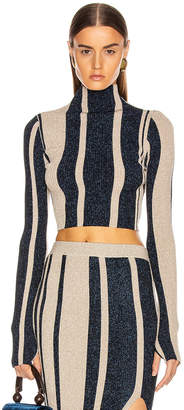 Self-Portrait Self Portrait Striped Crop Sweater in Navy & Beige | FWRD