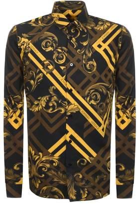 Versace Long Sleeved Printed Shirt Black