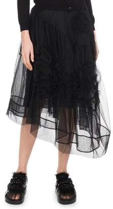 Simone Rocha Asymmetric Hem Calf-Length Tulle Skirt w/ Flower Detail