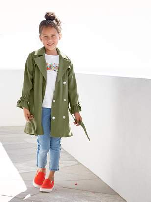 Vertbaudet Showerproof Trench Coat with Ruffles at the Cuffs for Girls