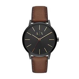 Armani Exchange Men's 'Cayde' Quartz Stainless Steel and Leather Watch