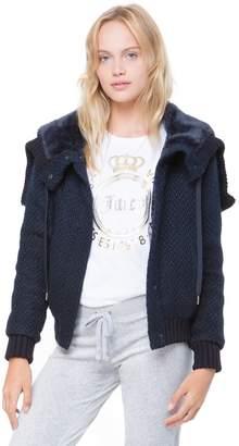 Juicy Couture Faux Fur Hood Boucle Jacket