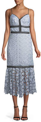 Jill Stuart Lea Floral Lace Midi Dress