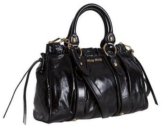 Black Shined Leather Pleated Satchel