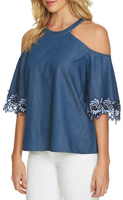 CeCe Short-Sleeve Cold-Shoulder Denim Blouse