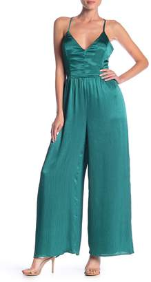 Lush Wide Leg Satin Jumpsuit