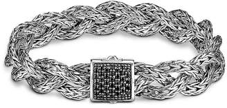 John Hardy Classic Chain Silver Small Braided Bracelet with Black Sapphire