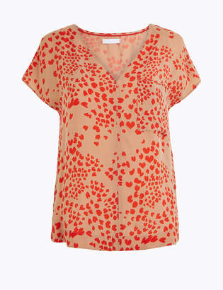 Marks and Spencer Cupro V-Neck Heart Print Shell Top