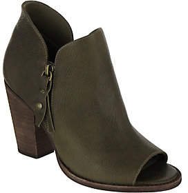 Mia Shoes Leather Peep Toe Booties - Ericka