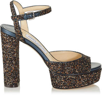 Jimmy Choo PEACHY 125 Amethyst Mix Twinkle Glitter Fabric Platform Sandals