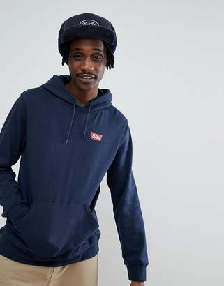 Brixton Stith Hoodie With Small Logo In Navy