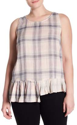 Susina Plaid Asymmetrical Hem Tank (Plus Size)