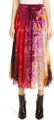 Fuzzi Degrade Florl Pleated Midi Skirt