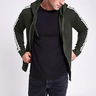 River Island Khaki slim fit tape zip front hoodie