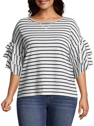 A.N.A 3/4 Ruffle Sleeve Stripe Sweatshirt - Plus
