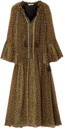 Ulla Johnson Lotte Metallic Floral-print Silk-blend Georgette Dress - Black